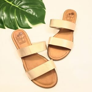 JELLY POP KIRARA METALLIC GOLD SLIDE ON SANDALS
